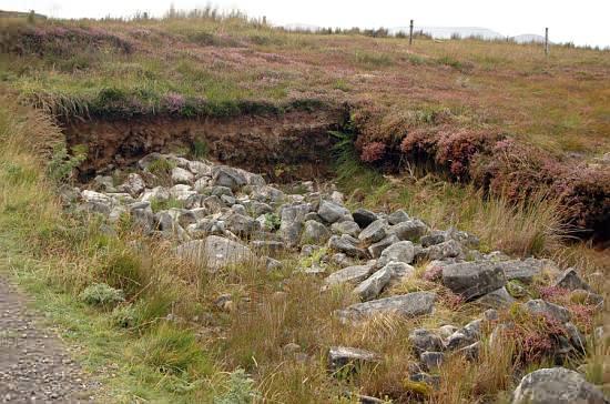 Teilweise freigelegte prähistorische Grenzmarkierung